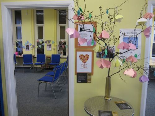 Poetry blossoming on our 'poet tree' during a project for the Dylan Thomas centenary